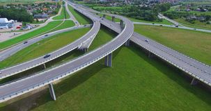 AERIAL: highway viaduct near the Klaipeda City. Lithuania stock video footage