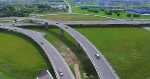 AERIAL: highway viaduct near the Klaipeda City. Lithuania stock video