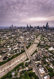Aerial highway view against Chicago Royalty Free Stock Photo