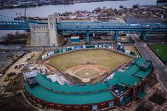 Aerial in Camden New Jersey - Baseball Stadium stock photography