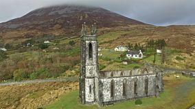Aerial of a historic church stock footage