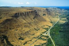 Aerial of Head-Smashed-In Buffalo Jump, Alberta. Aerial of  the historic cliffs and canyon of Head-Smashed-In Buffalo Jump national park, Alberta Royalty Free Stock Images