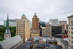 Aerial of Historic downtown Harrisburg, Pennsylvania next to the. Capitol stock photo