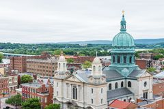 Aerial of Historic downtown Harrisburg, Pennsylvania next to the Royalty Free Stock Images