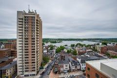 Aerial of Historic downtown Harrisburg, Pennsylvania next to the Stock Photos