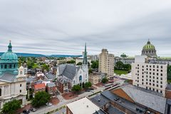 Aerial of Historic downtown Harrisburg, Pennsylvania next to the Royalty Free Stock Photo