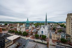Aerial of Historic downtown Harrisburg, Pennsylvania next to the Royalty Free Stock Photography