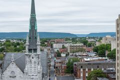 Aerial of Historic downtown Harrisburg, Pennsylvania next to the Royalty Free Stock Image