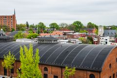 Aerial of historic downtown Lancaster, Pennsylvania with blooming trees royalty free stock photos