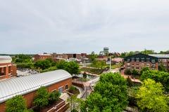 Aerial of Historic Federick, Maryland Near Carroll Creek Promena. De Park Stock Photography