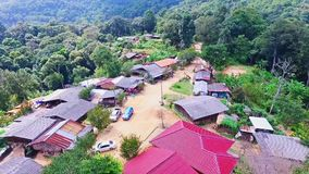 Aerial of Hmong Mountain Tribe Village, Chiang Mai, Northern Thailand 04