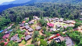 Aerial of Hmong Mountain Tribe Village, Chiang Mai, Northern Thailand 02