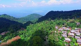 Aerial of Hmong Mountain Tribe Village, Chiang Mai, Northern Thailand 05