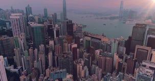 AERIAL. Hong Kong City skyline at sunrise. Hongkong skyscraper view from drone.