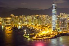 Aerial Hong Kong night Stock Image