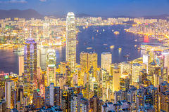 Aerial Hong Kong Skyline Royalty Free Stock Photos