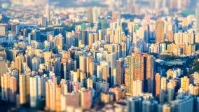 aerial hong kong view Φουτουριστική εικονική παράσταση πόλης με τους ουρανοξύστες Στοκ φωτογραφίες με δικαίωμα ελεύθερης χρήσης