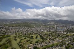 Aerial of Honolulu Oahu Hawaii stock image