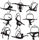 Aerial hoop acrobat. Set of aerial hoop acrobat woman silhouette vector illustration