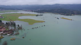 AERIAL: Huge environmental damage by flooding stock video footage