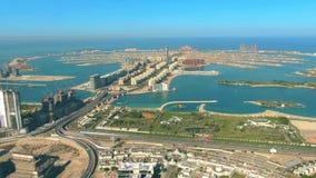 Aerial hyperlapse of the Palm Jumeirah island in Dubai, United Arab Emirates UAE