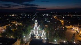 Aerial hyperlapse video of Sambor Ukraine at night stock footage