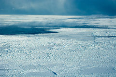 Aerial of ice on the Hudson Bay. Aerial image of frozen Hudson Bay in Manitoba Canada in November Royalty Free Stock Photography