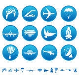 Aerial icons. On round buttons vector illustration