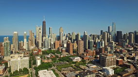 Aerial Illinois Chicago Day. Aerial video of downtown Chicago during the day in Illinois