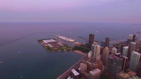 Aerial Illinois Chicago Night stock video footage
