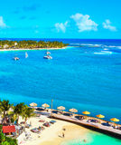 Aerial image of beautiful caribbean resort and beaches Royalty Free Stock Images
