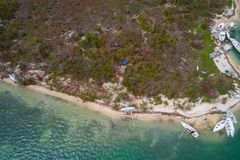 Shipwreck after Hurricane Irma wreck damage landscape sail boats. Aerial image of boats under water in the Keys Florida after Hurricane Irma Royalty Free Stock Images