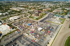 Aerial image of the Broward County Fair at Gulfstream Park. Broward County Fair at Gulfstream Park aerial drone image wide angle Stock Images