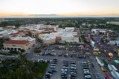 Aerial image Broward County fair and shops at Gulfstream Park Ha. Llandale Royalty Free Stock Photo
