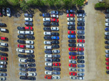 Aerial image of cars shot from above Royalty Free Stock Photo