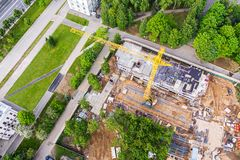 Aerial image of construction site in the city. drone photography stock image