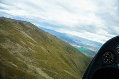 Aerial image between the converging hills of the Southern Alps Royalty Free Stock Photos