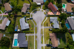 Aerial image of a cul-de-sac in a residential neighborhood. Stock aerial image of a residential neighborhood cul-de-sac Stock Image