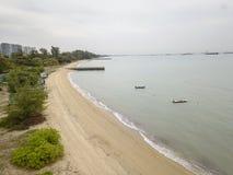 Aerial Image of East Coast Park shore, Singapore. Aerial image of the shoreline of East Coast Park, Singapore royalty free stock image