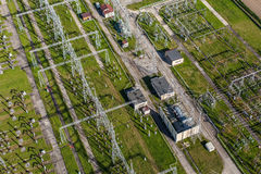 Aerial image of electrical substation featuring wires, transform Royalty Free Stock Photography