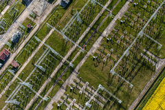 Aerial image of electrical substation featuring wires, transform Stock Images