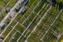 Aerial image of electrical substation featuring wires, transform Stock Photos