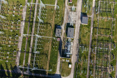 Aerial image of electrical substation featuring wires, transform Stock Photography