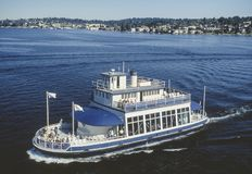 Aerial image of ferry boat Washington State stock photography