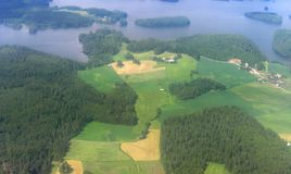 Aerial image of Finnish scenery. Aerial image of Finnish rural scenery stock images