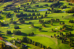 Aerial image of a golf course. Royalty Free Stock Images
