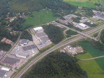 Aerial image of highway intersection. In the outskirts of the capital region of Finland royalty free stock images