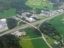 Aerial image of highway Royalty Free Stock Images