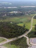 Aerial image of highway. In the middle of the forests in the outskirts of the capital region of Finland stock photos