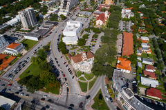 Aerial image of the historical Coral Gables City Hall. Aerial imagehistorical Coral Gables City Hall stock photo